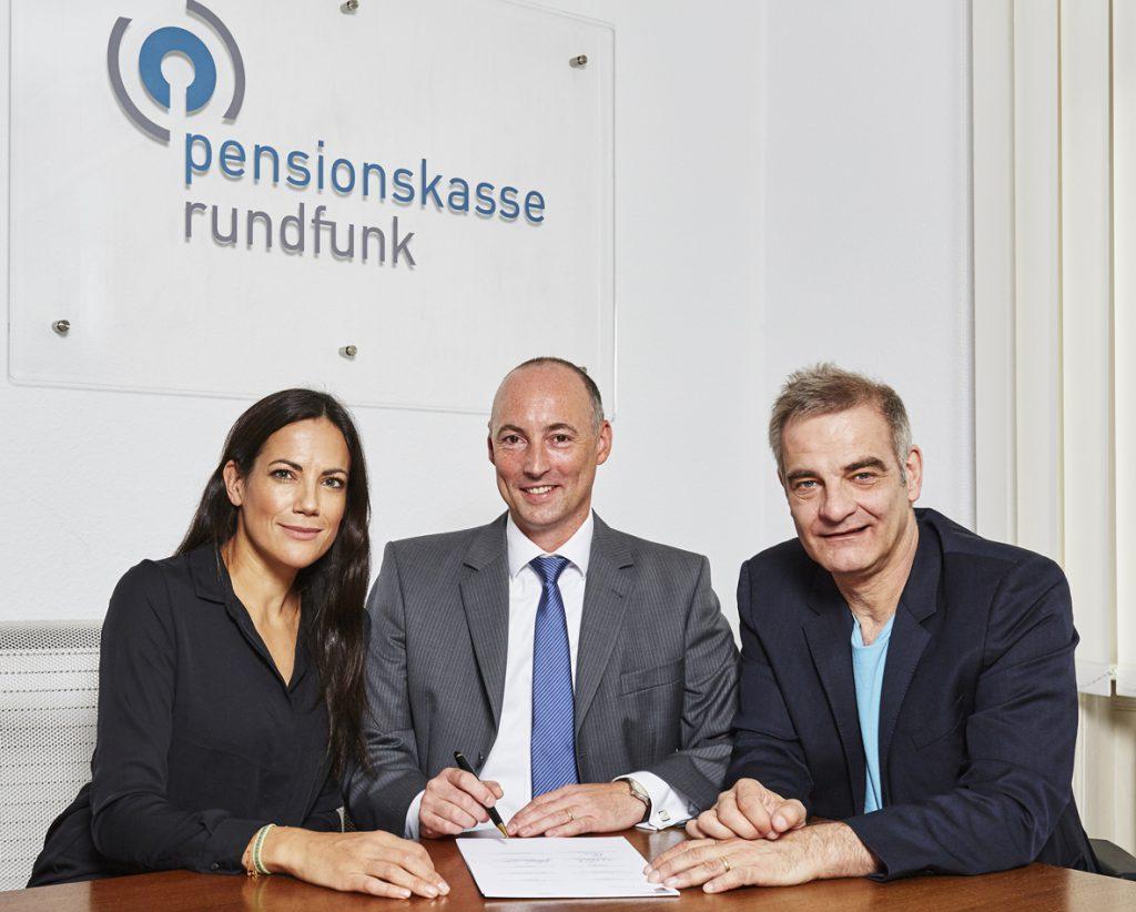 v.l.n.r: Bettina Zimmermann (Vorstand BFFS), Martin Schrader (Vorstand Pensionskasse Rundfunk), Heinrich Schafmeister (Vorstand BFFS)